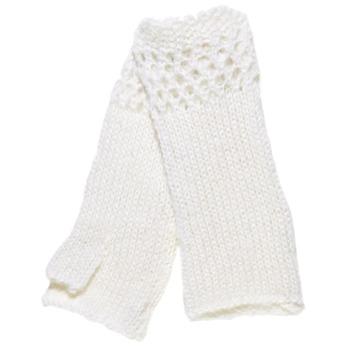 Pletené rukavice bez prstov bata, biela, 909-1380 - 13