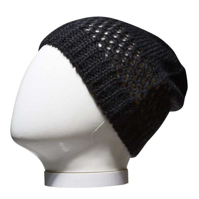 Pletená čiapka bata, čierna, 909-6372 - 13