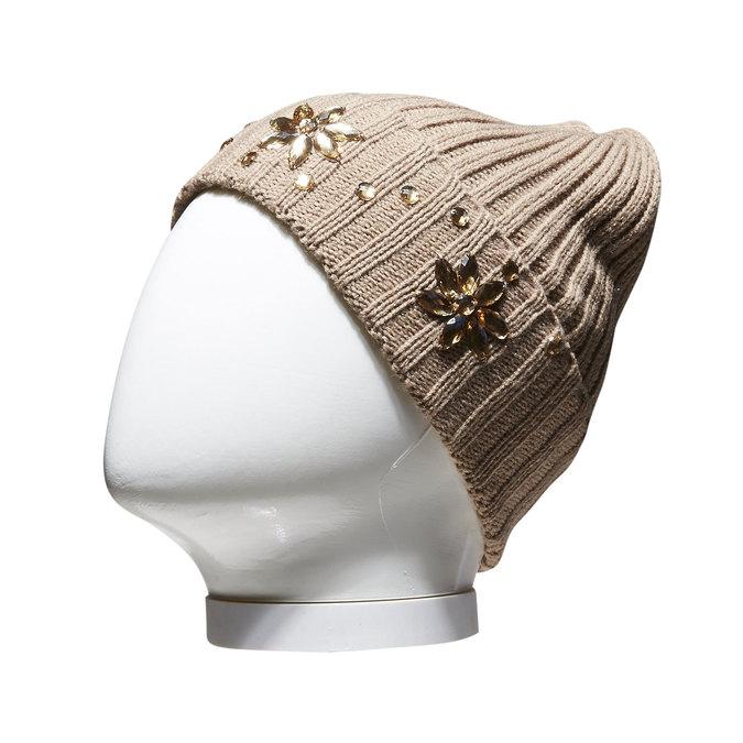 Pletená čiapka s kamienkami bata, žltá, 909-8300 - 13
