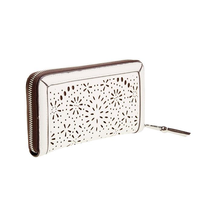 Dámska peňaženka s perforáciou bata, biela, 941-1131 - 13