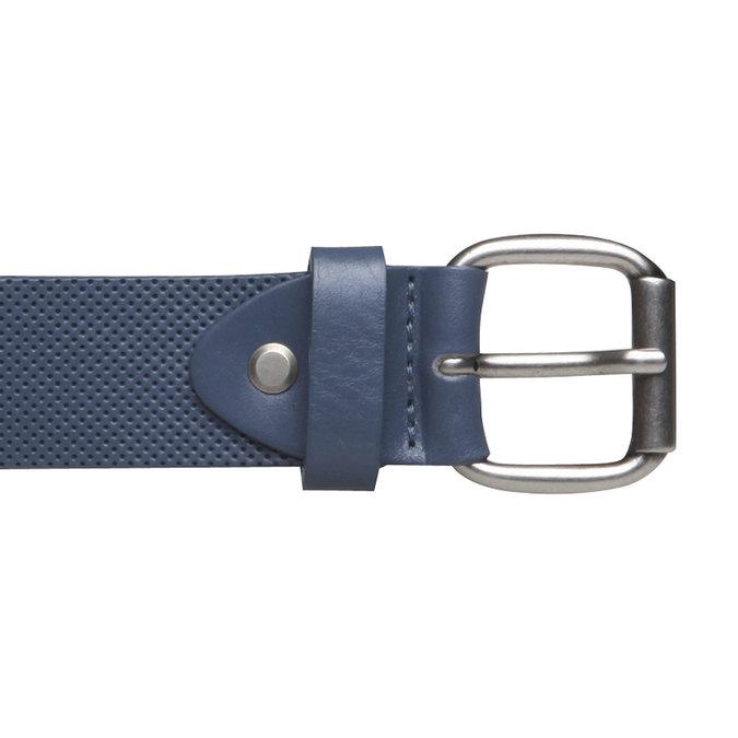 Kožený opasok s perforáciou bata, modrá, 954-9154 - 26