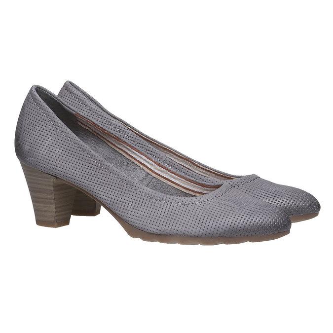 Kožené lodičky s perforáciou bata, šedá, 624-2389 - 26