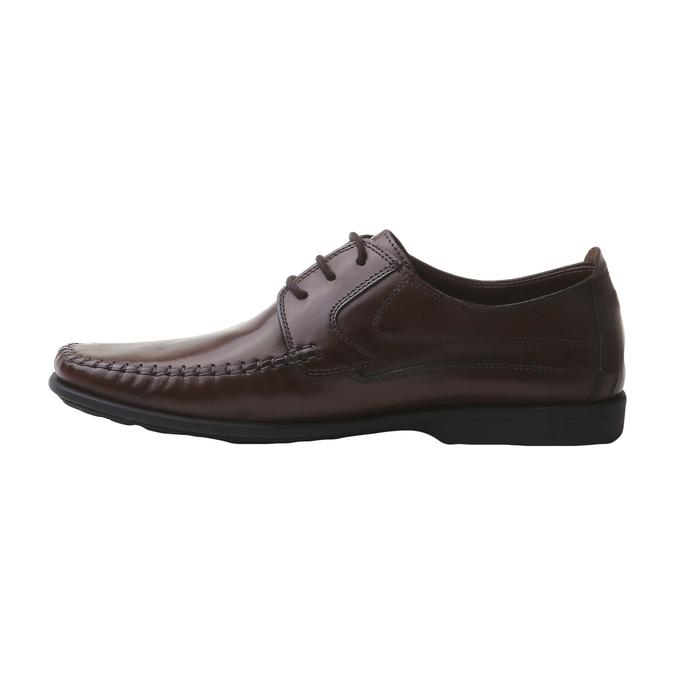 Kožená obuv na šnurovanie bata, hnedá, 854-4836 - 15