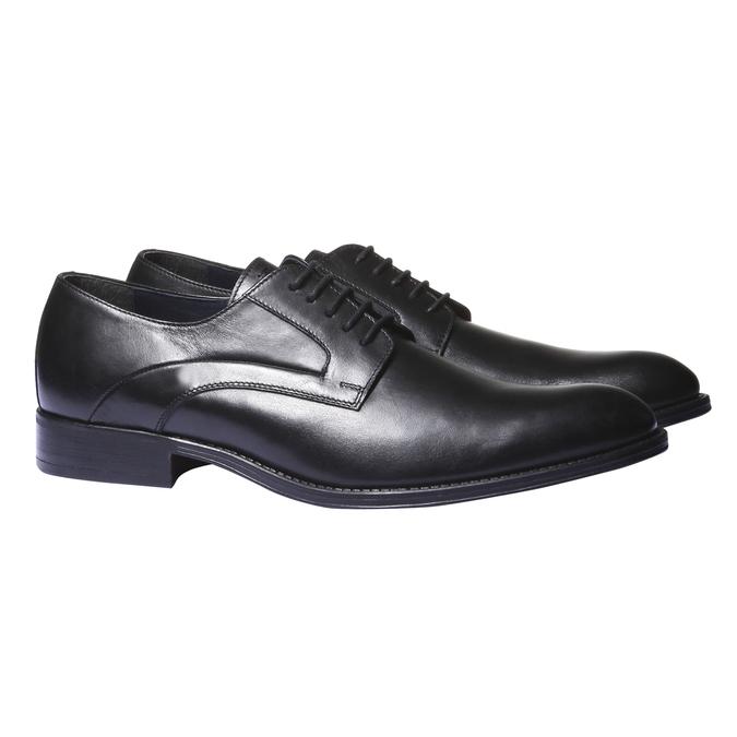 Kožené poltopánky v štýle derby bata, čierna, 824-6108 - 26