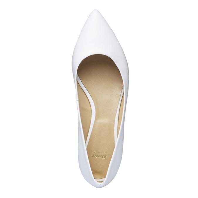 Biele kožené baleríny do špičky bata, biela, 524-1493 - 19