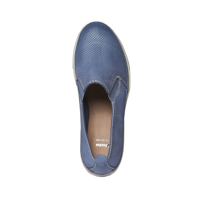 Kožené Plim Soll topánky s perforáciou bata, modrá, 514-9197 - 19