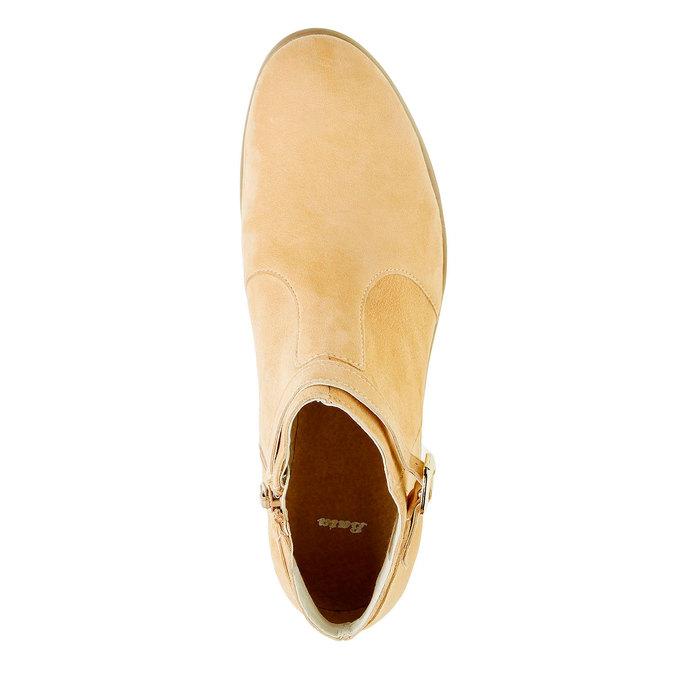 Členkové čižmy z brúsenej kože bata, béžová, 593-8402 - 19