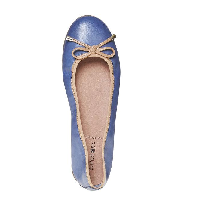 Dámske kožené baleríny bata, modrá, 524-9485 - 19