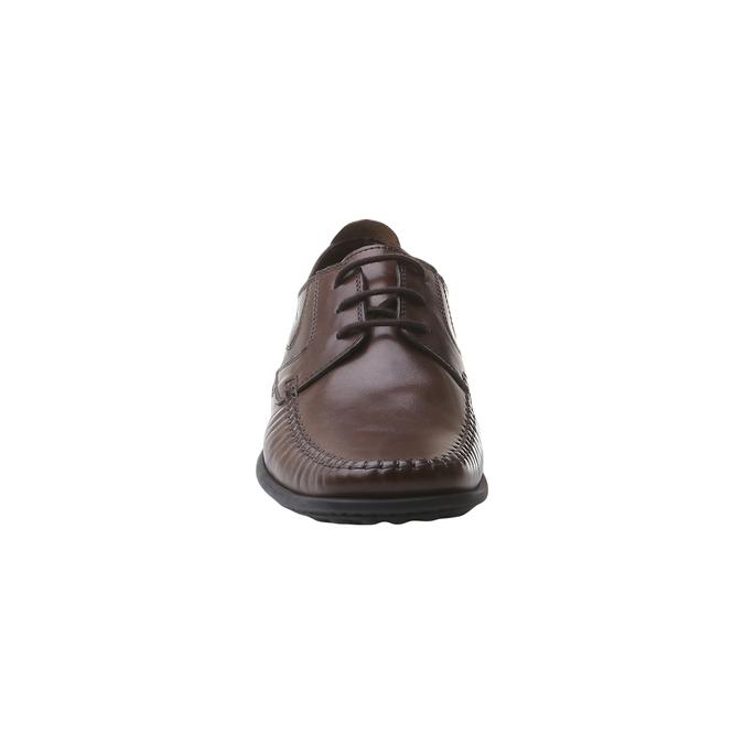 Kožená obuv na šnurovanie bata, hnedá, 854-4836 - 16