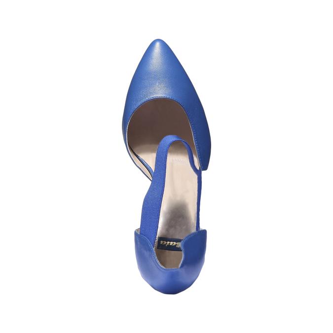 Elegantná kožená remienková obuv bata, modrá, 724-9648 - 19