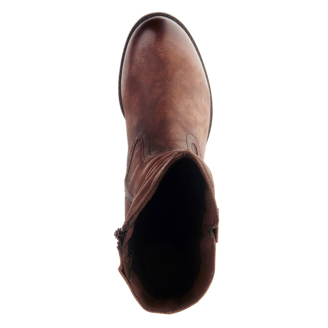Kožené čižmy na stabilnom podpätku bata, hnedá, 696-4127 - 19