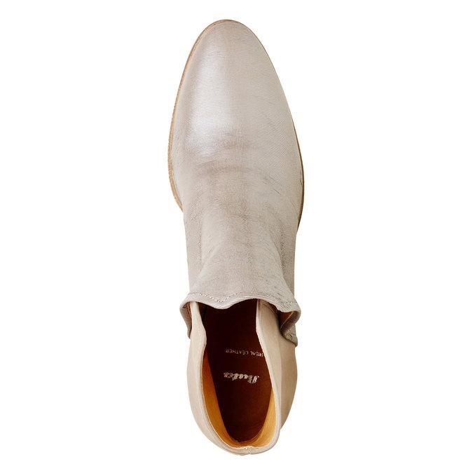 Kožené členkové čižmy bata, béžová, 696-2110 - 19