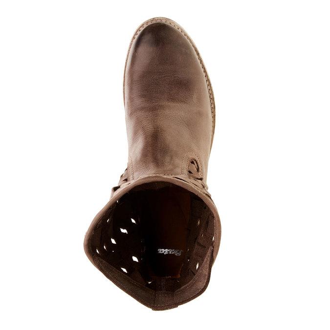 Kožené členkové čižmy bata, hnedá, 596-4612 - 19