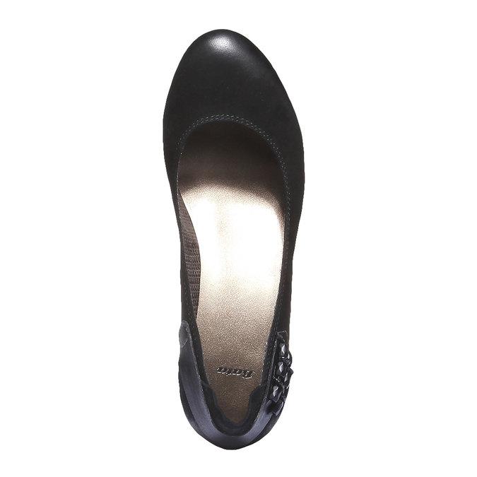 Kožené lodičky na nízkom podpätku bata, čierna, 626-6102 - 19