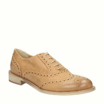 Kožené Oxfordky s Brogue zdobením bata, hnedá, 524-3482 - 13