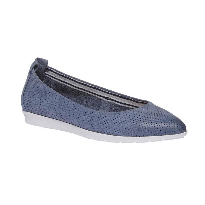 Kožené baleríny s perforáciou bata, modrá, 526-9486 - 13