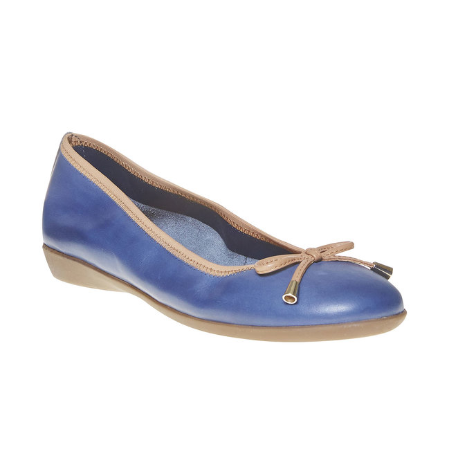 Dámske kožené baleríny bata, modrá, 524-9485 - 13