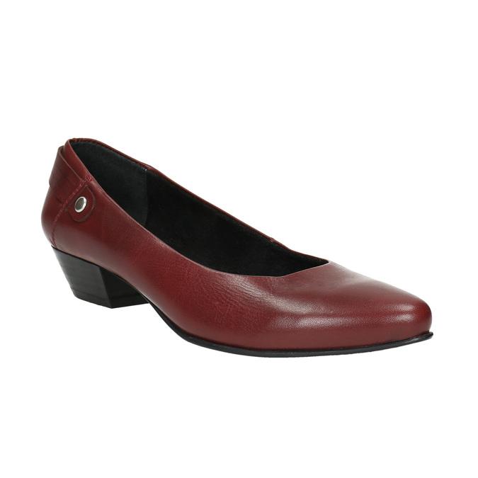 Kožené lodičky na nízkom podpätku bata, červená, 624-5603 - 13