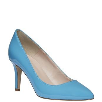 Modré kožené lodičky bata, modrá, 728-9955 - 13