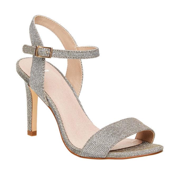 Strieborné sandále na ihličkovom podpätku bata, strieborná, 761-1310 - 13