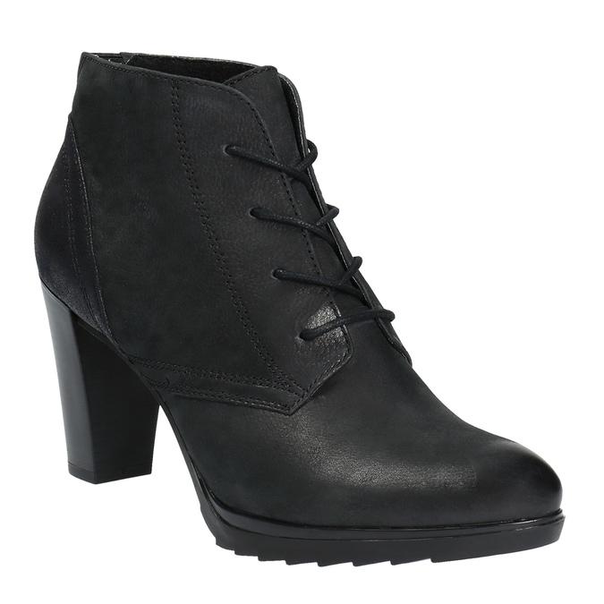 Kožená členková obuv na podpätku bata, čierna, 796-6602 - 13