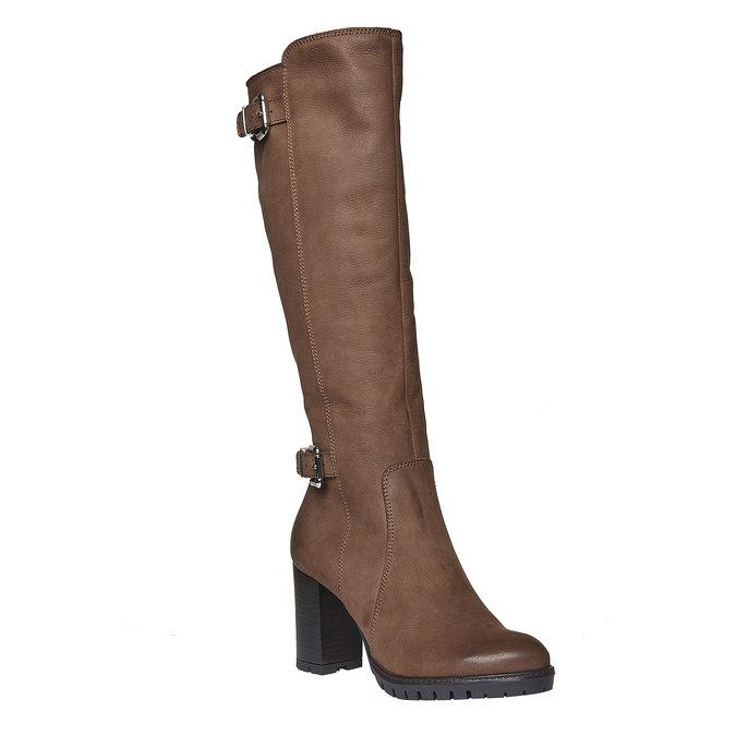 Kožené čižmy na podpätku bata, hnedá, 796-3100 - 13