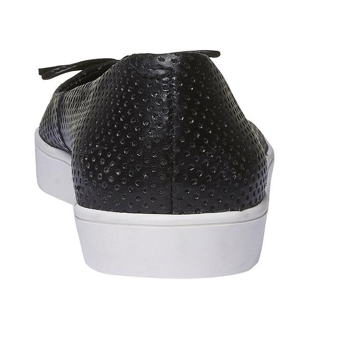 Kožené baleríny s perforáciou bata, čierna, 524-6490 - 17