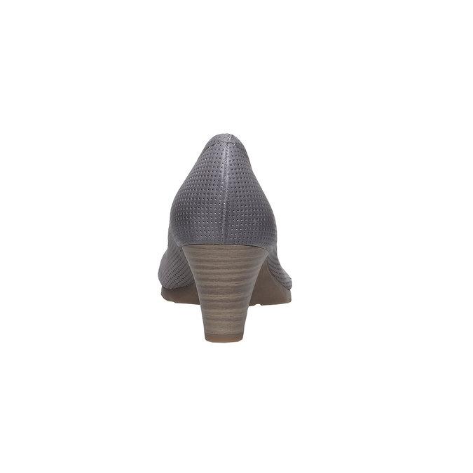 Kožené lodičky s perforáciou bata, šedá, 624-2389 - 17