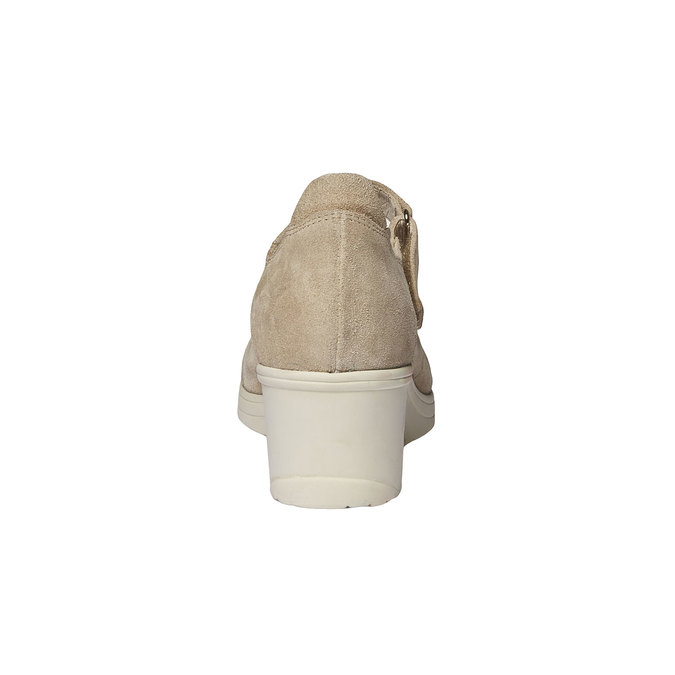 Kožené lodičky na klinovom podpätku bata-touch-me, béžová, 623-8392 - 17