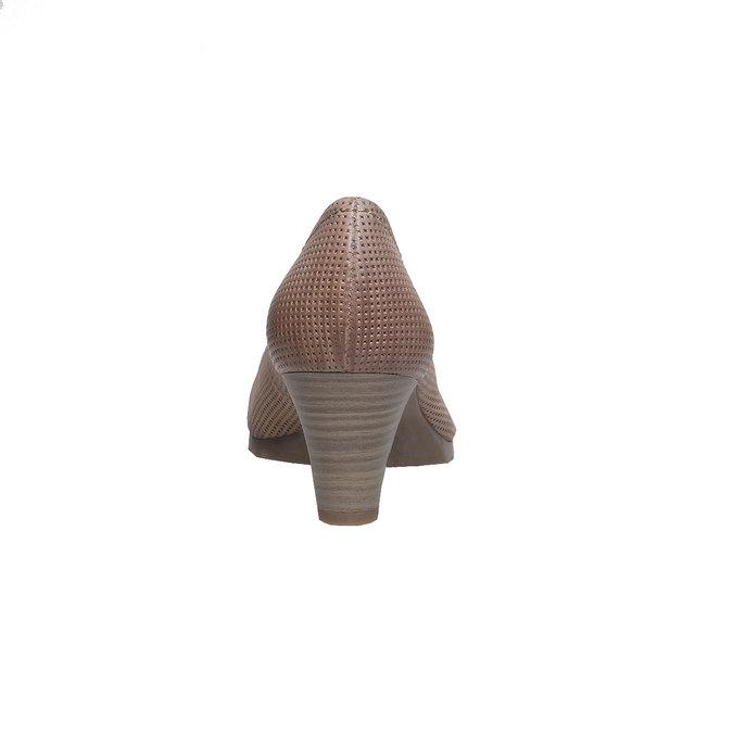 Kožené lodičky s perforáciou bata, hnedá, 624-8389 - 17