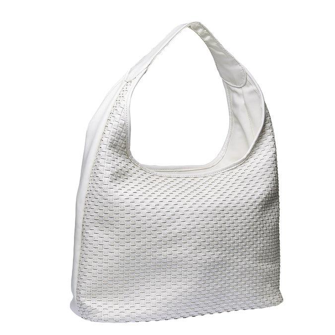Hobo kabelka v pletenom designe bata, biela, 961-1786 - 13