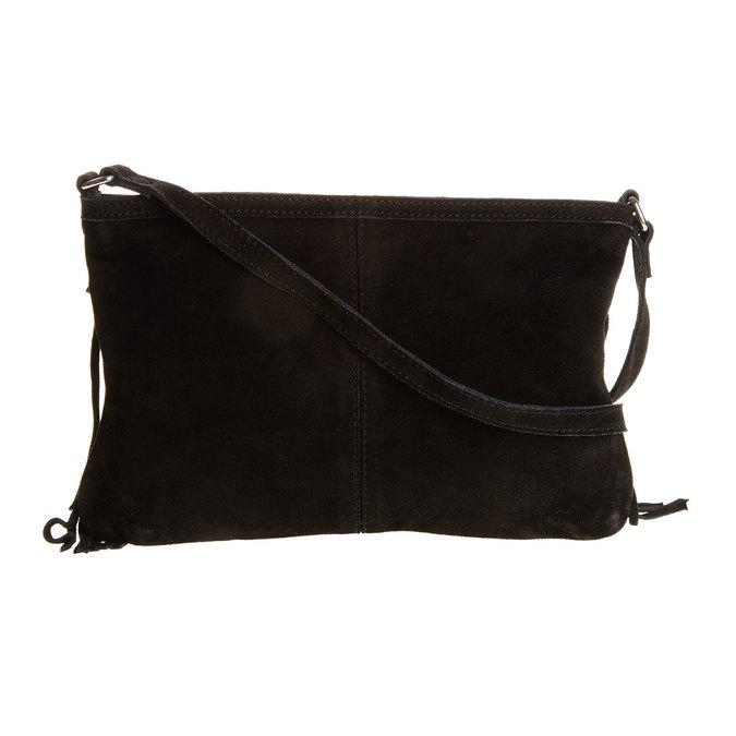 Kožená Crossbody kabelka so strapcami bata, čierna, 963-6120 - 26