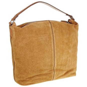 Kožená kabelka v Hobo štýle bata, hnedá, 963-3129 - 13