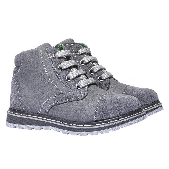 Kožené členkové topánky mini-b, šedá, 211-2138 - 26