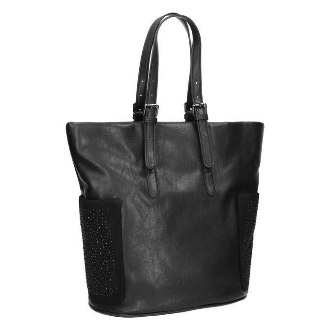 Dámska čierna kabelka s kamienkami bata, čierna, 961-6118 - 13