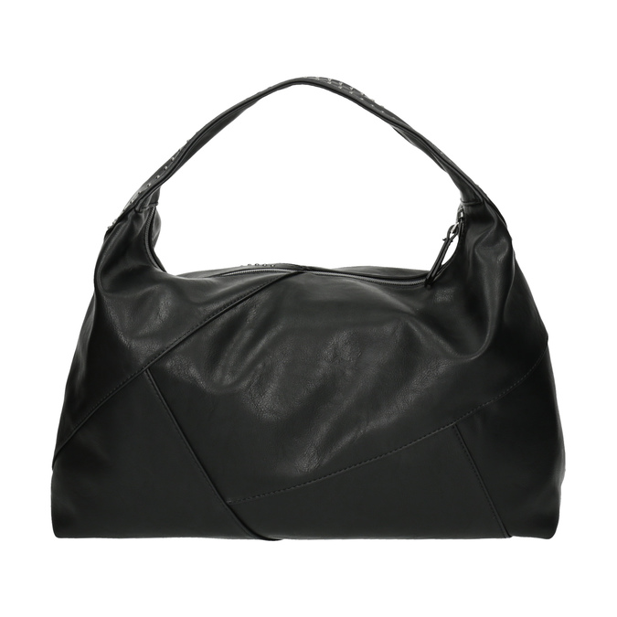 Kabelka v Hobo štýle s kovovou aplikáciou bata, čierna, 961-6854 - 26