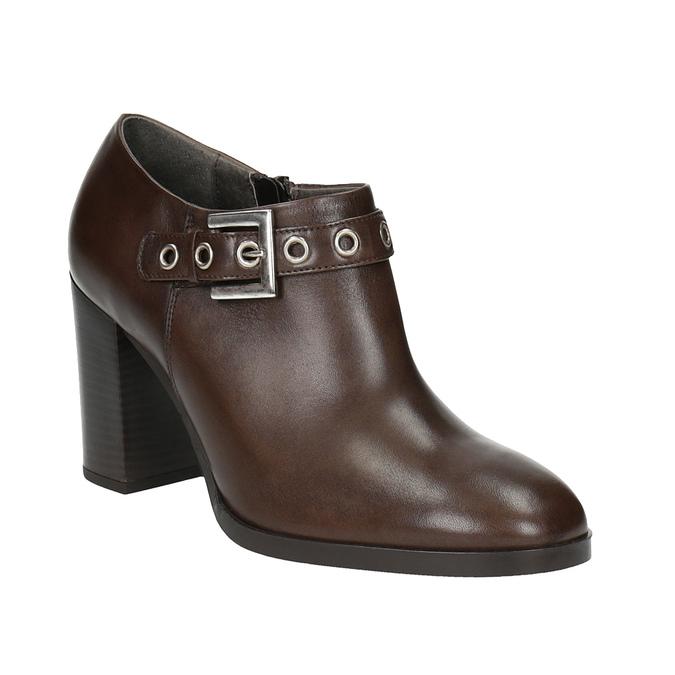 Kožené poltopánky na širokom podpätku bata, hnedá, 794-4636 - 13