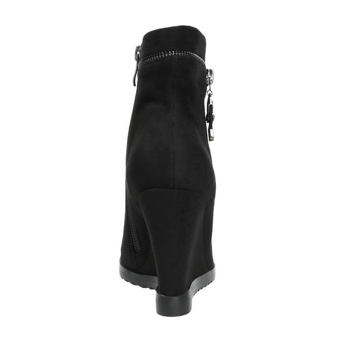Dámska členková obuv na klínovom podpätku bata, čierna, 799-6631 - 17