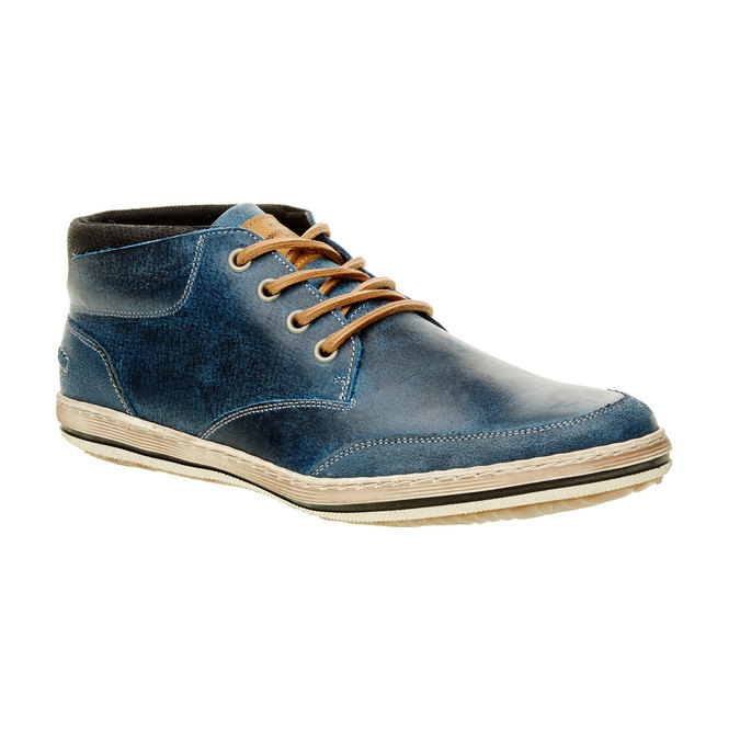 Modré kožené tenisky k členkom bata, modrá, 844-9620 - 13