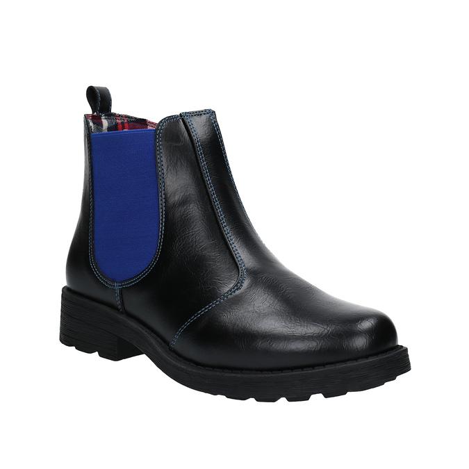 Detská členková obuv s pružným bokom mini-b, čierna, 321-9602 - 13