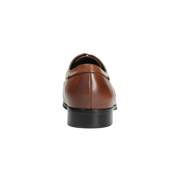 Hnedé kožené poltopánky v Oxford strihu bata, hnedá, 824-3680 - 17