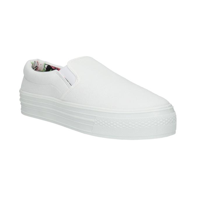 Biele Slip-on na širokej podrážke bata, biela, 529-1631 - 13