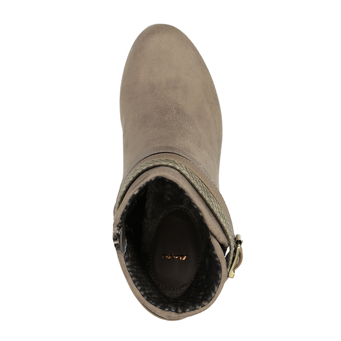 Dámská členková obuv na vysokom podpätku bata, béžová, 799-2603 - 19