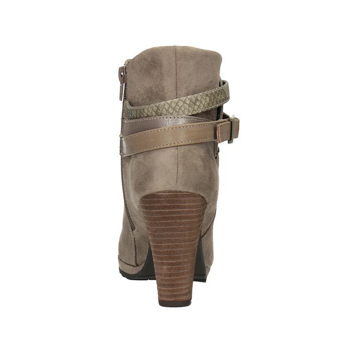 Dámská členková obuv na vysokom podpätku bata, béžová, 799-2603 - 17