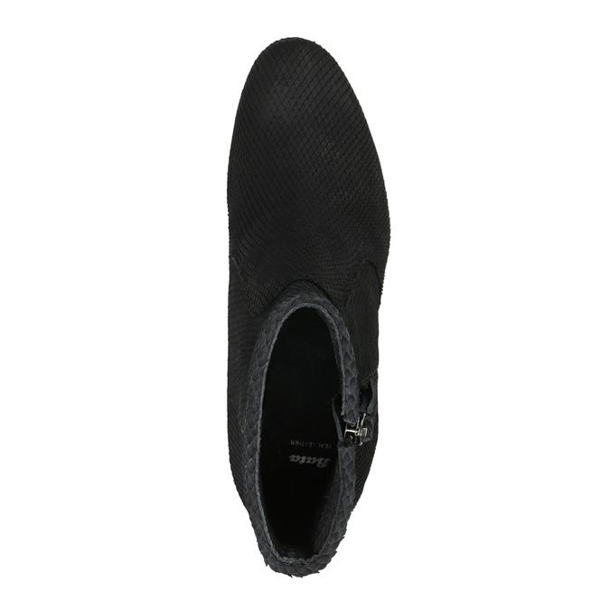 Kožené členkové čižmy s hadím vzorom bata, čierna, 796-6606 - 19