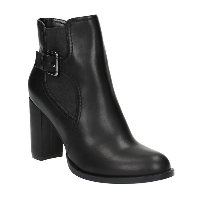 Členková obuv na podpätku s prackou bata, čierna, 791-6610 - 13