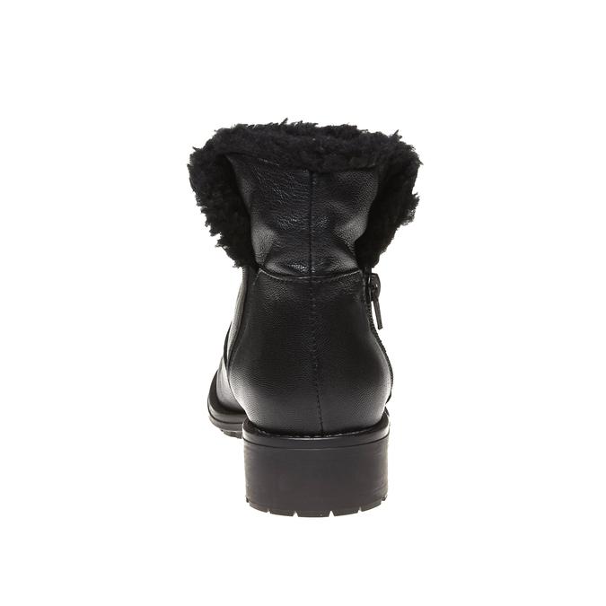 Genie - členková obuv s kožušinkou bata, čierna, 594-6506 - 17