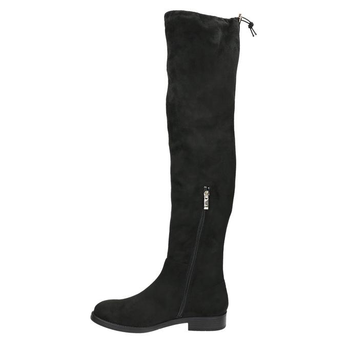 Dámske čižmy nad kolená bata, čierna, 599-6608 - 19