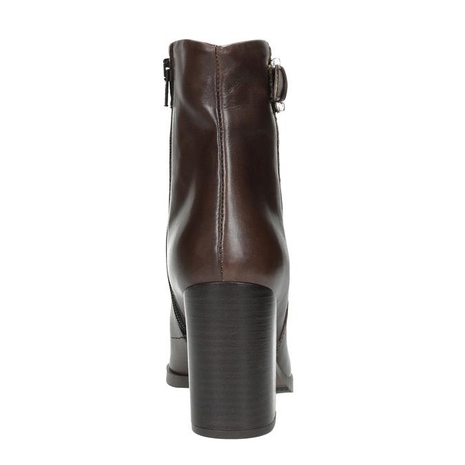 Kožená členková obuv na podpätku bata, hnedá, 794-4635 - 17