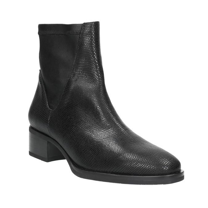Kožená členková obuv so vzorom bata, čierna, 596-6621 - 13